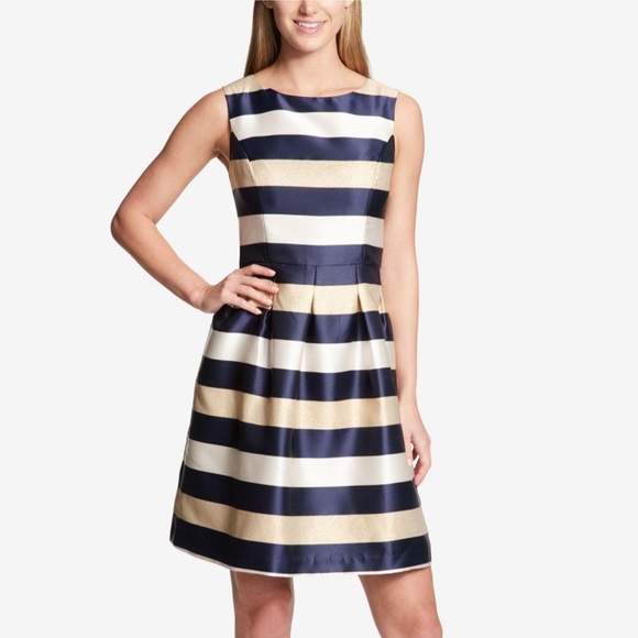 e4fbee6831 Tommy Hilfiger Navy Gold Striped Fit Flare Dress. M_5c16832e4ab633085c25cf9c